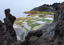 1月Mayen海岛海岸线  免版税图库摄影