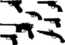 1杆枪被设置的剪影 免版税库存图片