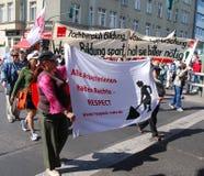 1次柏林日演示行军可以 免版税库存图片