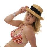 1比基尼泳装白肤金发的帽子秸杆 库存图片