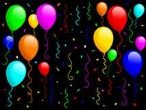 1气球五彩纸屑 免版税库存图片