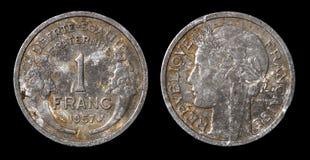1法郎古色古香的硬币  库存图片