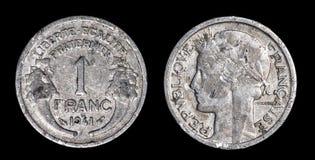 1法郎古色古香的硬币  免版税库存图片