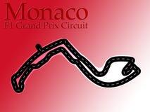 1电路f1配方映射摩纳哥赛跑 库存照片