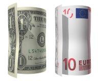 1美元欧元 图库摄影