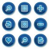 1蓝色按圈子图标映象集浏览器万维网 免版税库存照片
