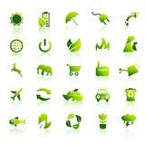 1被设置的30个eco绿色图标 库存图片