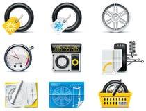 1辆汽车图标分开服务轮胎 库存照片