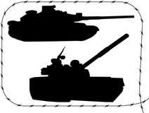 1集合剪影坦克 库存照片
