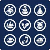 1 år för ny del för 2 julsymboler set Royaltyfri Illustrationer