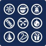 1 år för ny del för julsymboler set Vektor Illustrationer