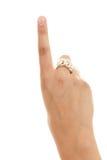1 öppna pekfingerhandnummer fotografering för bildbyråer
