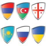 1 östliga Europa flaggasköld Royaltyfria Foton