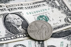 1 överkant för sovjet för billmyntdollar Royaltyfria Foton