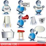 1 διαφημιστικά εικονίδια διανυσματική απεικόνιση