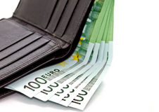 1 ευρο- πορτοφόλι τραπεζογραμματίων Στοκ Φωτογραφίες