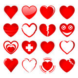 1 κόκκινο σύνολο καρδιών Στοκ Εικόνες