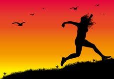1 μακριά τρέξιμο κοριτσιών διανυσματική απεικόνιση
