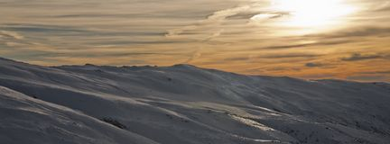 1 οροσειρά ηλιοβασίλεμ&alph Στοκ Εικόνα