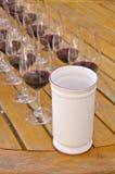 1 σειρά δοκιμάζοντας κρασιού Στοκ Εικόνες