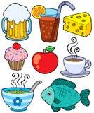 1 συλλογή πίνει τα τρόφιμα ελεύθερη απεικόνιση δικαιώματος