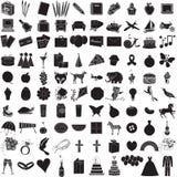 1 σύνολο 100 εικονιδίων Στοκ εικόνα με δικαίωμα ελεύθερης χρήσης