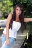 1 όμορφος έφηβος brunette υπαίθρι&a Στοκ Εικόνες