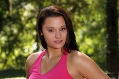 1 όμορφο brunette headshot υπαίθριο Στοκ Φωτογραφία