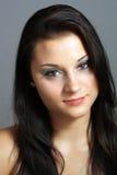 1 όμορφο brunette headshot Στοκ Φωτογραφία