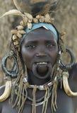1 африканский люд mursi стоковое изображение