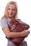 1 белокурой женщина изолированная сумкой Стоковая Фотография RF