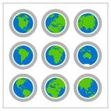 1 версия гловальной иконы установленная Стоковое Изображение RF