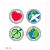 1 версия гловальной иконы 02 установленная Стоковые Изображения