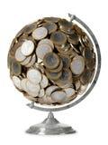 1 глобус евро монетки Стоковое Изображение RF