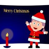 1 девушка рождества карточки веселая иллюстрация штока