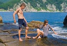 1 детеныш женщины моря человека Стоковая Фотография