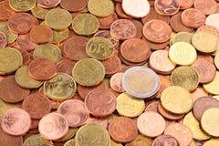 1 евро монеток Стоковое Изображение RF