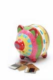 1 еда кредита в банке piggy Стоковое Фото