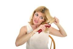 1 завивая женщина волос Стоковые Изображения