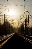 1 заход солнца железной дороги Стоковые Изображения