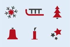 1 зима иконы праздника установленная Стоковое Изображение RF