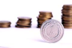 1 злотый монетки польский Стоковое фото RF