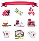 1 играя в азартные игры белизна вектора части иконы установленная Стоковые Фото