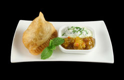 1 индийское samosa Стоковые Фотографии RF