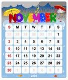 1 календар ежемесячный ноябрь Стоковые Фотографии RF