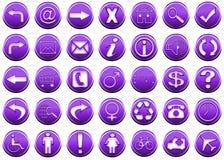 1 комплект пурпура иконы Стоковая Фотография