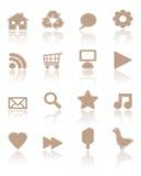 1 коричневый комплект бумаги икон Стоковое Фото
