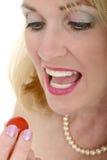 1 красивейшая вишня ест женщину томата Стоковые Изображения