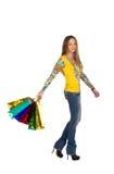 1 красивейшая девушка пакетирует покупку Стоковое Изображение