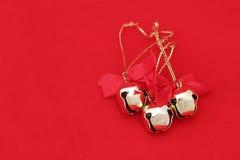 1 красный цвет рождества колоколов Стоковые Изображения